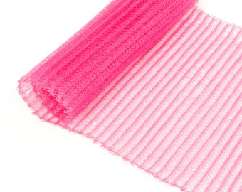 "1 Yard x 6"" Hot Pink Pleated Crinoline Millinery Horsehair Crin - 13 Colors Available"