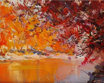 Colorful landscape painting of fall forest, Abstract art canvas, Oil painting, Orange wall art