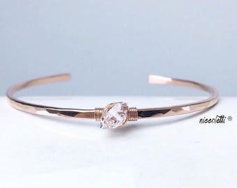 Genuine Herkimer Diamond Cuff / 14k Gold Filled Cuff / Raw Quartz Cuff Bracelet / April Birthstone Jewelry /Gift for Her / Mothers Jewelry