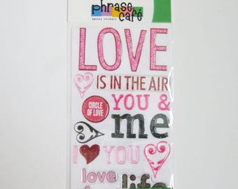 Phrase Cafe Epoxy Stickers LOVE EK Success 24 Dimensional Self Adhesive Stickers Love is in the Air Scrapbook Romantic Craft Supply Destash