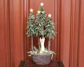 small tabletop christmas tree angel in forest - Christmas Tree Angel