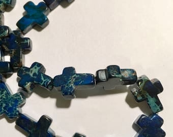 "blue variscite sea sediment jasper cross beads | 12x16mm | 24 cross beads | 15.5"" strand"