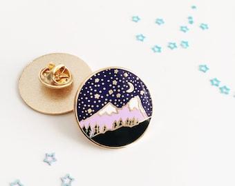 Mountain Enamel Pin - Mountain Lapel Pin - Travel Pin - Hard Enamel Pin - Backpack Pin - Explore Pin - Travel Gift - Gold Enamel Pin