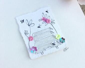 Beehive mini tiny papercut original mixed media artwork