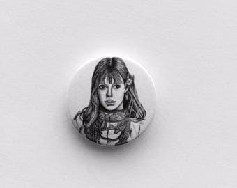 Jane Birkin Portrait Illustration 25mm Pin Badge