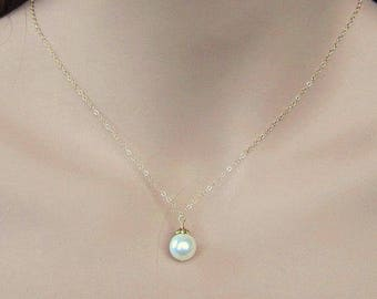 Single Pearl Bridal Necklace, Floating Pearl and 14K Gold Necklace, Gold and Pearl Necklace, Y Drop Necklace, Bridal Jewelry Wedding Jewelry