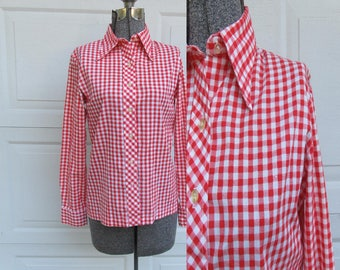 1970s vintage red and white gingham check shirt with pointed collar, S