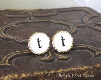 Letter T earrings - Vintage Stamped Letterpress Letters in Vintage Goldtone Posts - Old English, Gothic