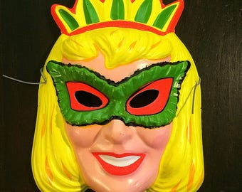 Vintage Halloween Mask, Blonde Princess c 1960s Girl Costume, Masquerade, Vintage Advertising, Halloween Decoration