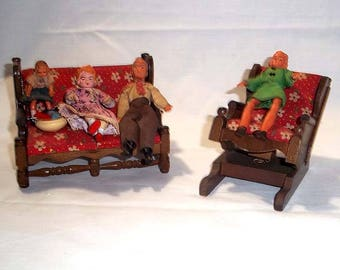 Vintage Price Products Wooden U0026 Upholstered Miniature Doll House Sofa Couch  And Rocking Chair With 4