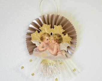 Victorian Scrap Ornament/ Christmas Cherub/ Vintage Style Ornament