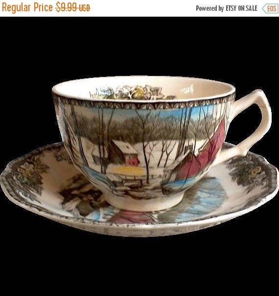 "50% off Friendly Village Tea Cup Set, "" Ice House"", Johnson Brothers, England, Serving, English Tranferware, OLDER MARK"