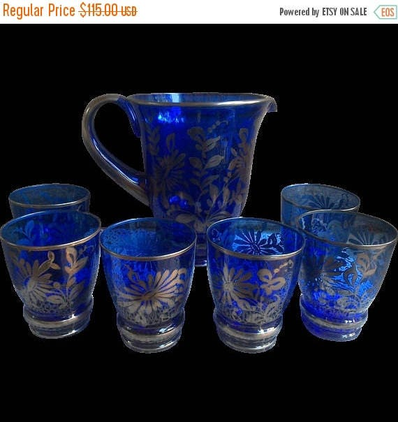 SALE Antique Colbalt Blue Glass Pitcher and 6 Glasses, Silver Leaf Overlay