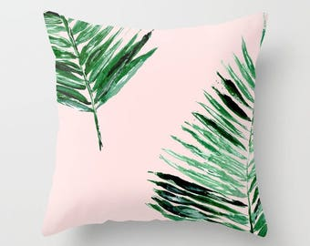 Pink Palm Leaf Throw Pillow, palm leaf pillow, pink leaf pillow, pink throw pillow, palm leaves pillow, tropical leaf pillow