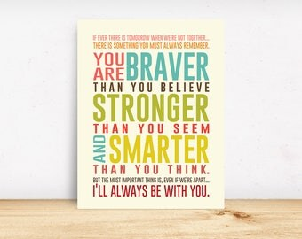 Typography Print, You Are Brave Poster, AA Milne Quote, Winnie The Pooh Poster, Childrens Wall Art, You Are Braver, Nursery Art, Kids Poster