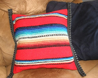 Pillow - Bright Red Mexican or Southwest Design that I made from Mexican cloth - filled with polyester fill
