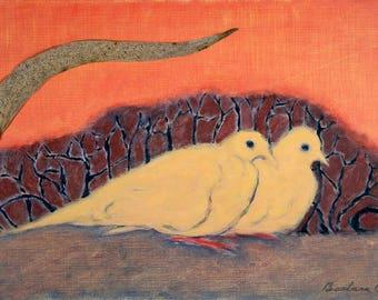 Doves Huddled print