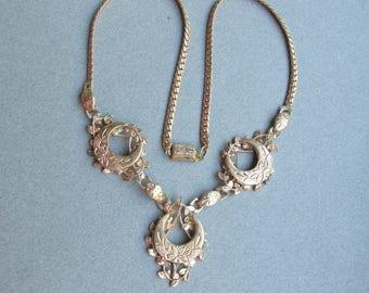 Exquisite Vintage Victorian Revival Engraved Crescent Moon Necklace