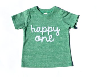 happy one. one. First Birthday. Boy. Girl. Shirt. Gender Neutral. 3 Shirt Colors Available .Birthday Shirt