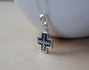Silver cross with blue jewelry enamel