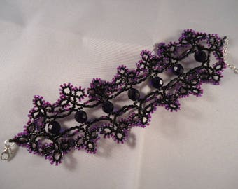 Purple and Black Lace tatting Japanese beaded bracelet