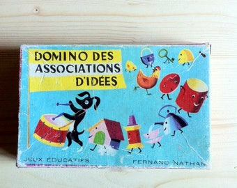Vintage French Domino Game Pieces - Fernand Nathan, illustrated dominoes