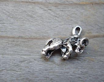 Zodiac Capricorn 3D silver metal pendant