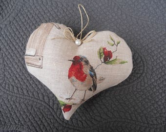 heart door pillow beautiful linen bird