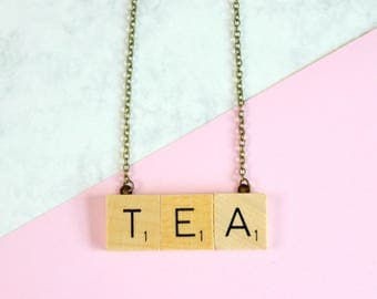 TEA Phrase Necklace,  Wooden Scrabble Inspired TEA Necklace, Scrabble Necklace, TEA Word Necklace, Scrabble Christmas Gift