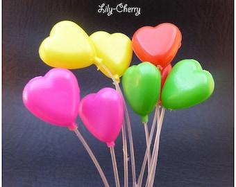 Decoration for cake balls plastic heart x 1