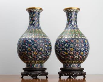 Chinese Cloisonné Bottle Vases
