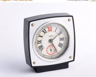ON SALE Vintage alarm clock - MINIATURE ,Soviet clock, Russian clock , Mechanical clock , Green clock , Slava