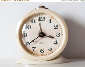 "SALE Soviet clock Russian clock Mechanical clock alarm -WORKING-  USSR ""Sevani"" from Soviet Union Vintage period"