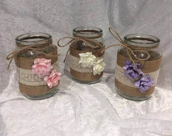 Wedding Table Rustic Decorated Jars