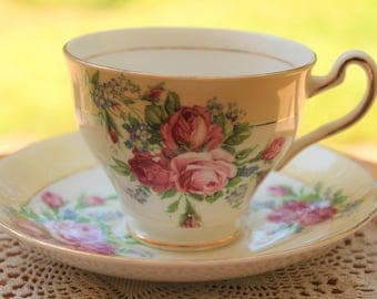 Clare Bone China Teacup Pink And White Blossoms Gold Trim