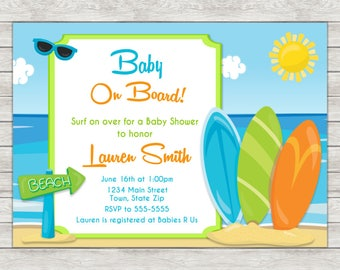 Surf Baby Shower Invitation, Surfing Surfer Boy Invite - Printable File or Printed Invitations