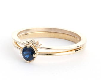 Blue Sapphire Solitaire Yellow Gold Ring, Engagement Ring Set, Gold Curved Ring, Crown Ring, Blue Sapphire Wedding Ring set