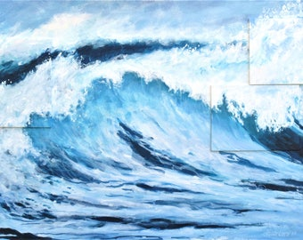"Original painting ""Wave song"" by Anna Starkova 22""H x 52""W"