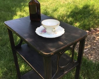 Black Antique Painted Cottage Shabby Chic End Table Nightstand