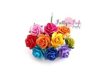 "3/4"" RAINBOW Mixed Assortment Premium Paper Flowers, Wire Paper Flowers, Floral Crown Flowers, 2cm Flowers, Flowers, Mulberry Flowers"