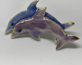 Large Double Dolphin Pin