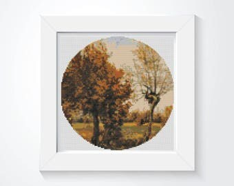 Autumn Cross Stitch Pattern PDF, Autumn Landscape with Four Trees CIRCULAR Cross Stitch Chart, Art Cross Stitch, Vincent Van Gogh (C014)