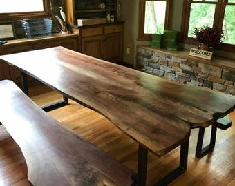 The Stunner-   Live Edge Black Walnut Slab Table with Metal Industrial Table Legs (FREE live edge cutting board with orders)