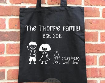 Personalised family picture tote bag, perfect new parent gift or baby shower gift. Ideal mother's day gift or father's day gift