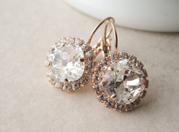 Rose Gold and Crystal Halo Bridesmaid Earrings Vintage Style Wedding Jewelry Swarovski Elements