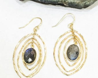 SALE Labradorite Spinning Earrings in 925 Silver and Gold Plate