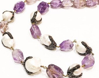 Ametrine and Pearl Necklace