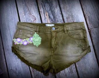 Shorts, Upcycled, Free People,  Country, Rustic,  Accessories, Distressed, Cut Offs