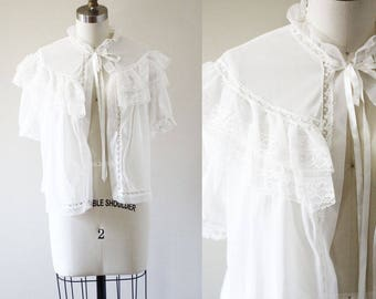1960s white lace camisole // 1960s robe // vintage robe