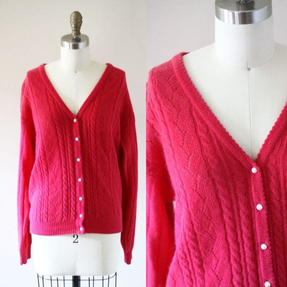 1980s fuschia cardigan // vintage pink sweater // 1980s sweater